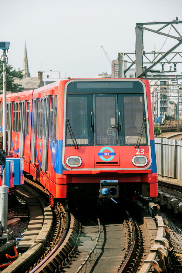 Free DLR Train Arriving In Station London UK Royalty Free Stock Photos - 42836348