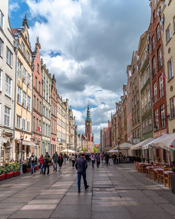 Dluga Targ la rue principale ? Danzig Pologne photos libres de droits