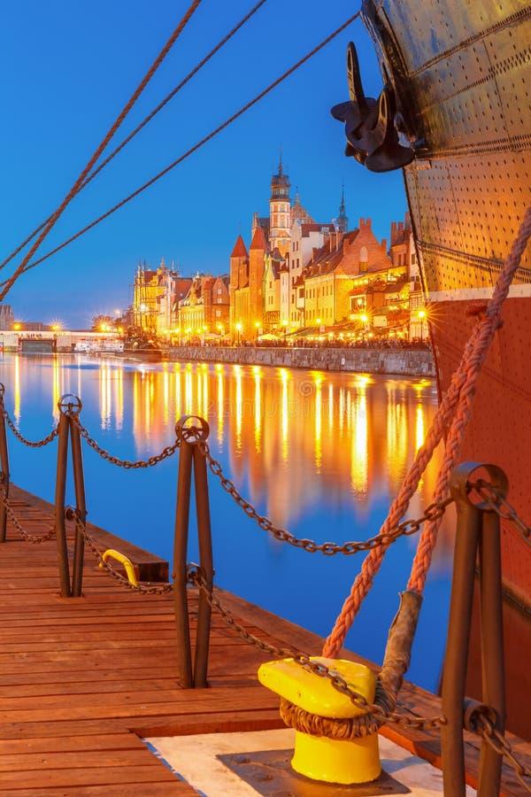 Dlugie Pobrzeze and Motlawa River, Gdansk, Poland royalty free stock photo
