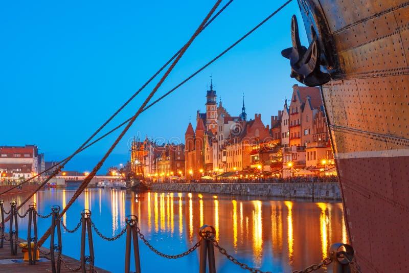 Dlugie Pobrzeze and Motlawa River, Gdansk, Poland stock photography