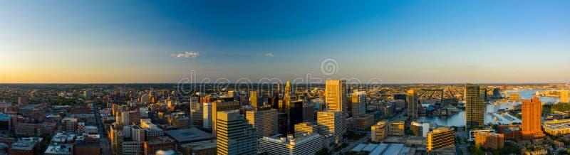 DM aérienne Etats-Unis de Baltimore du centre ville de panorama image stock