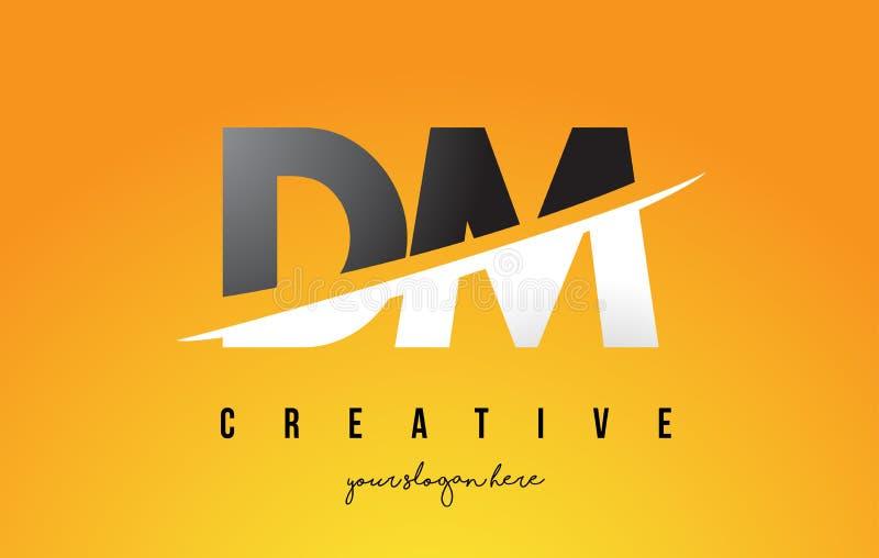 DM D M Letter Modern Logo Design com fundo amarelo e Swoo ilustração do vetor