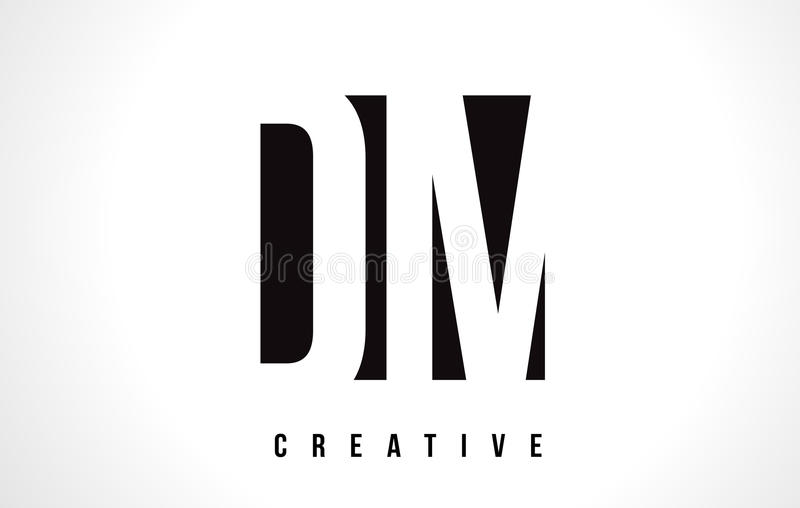 DM D M White Letter Logo Design avec la place noire illustration stock