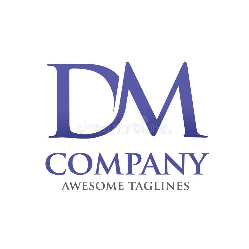 DM-de vector van de embleembrief stock illustratie
