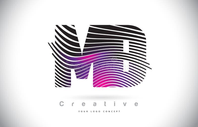DM M D Zebra Texture Letter Logo Design With Creative Lines e ilustração do vetor