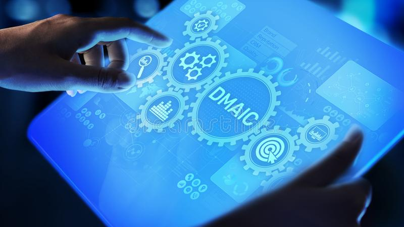 DMAIC Define Measure Analyze Improve Control Industrial business process optimisation six sigma lean manufacturing vector illustration