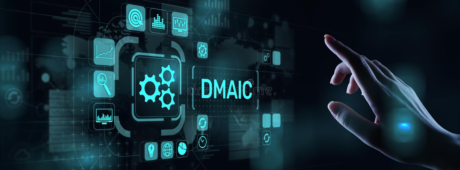 DMAIC Define Measure Analyze Improve Control Industrial business process optimisation six sigma lean manufacturing. Technology concept on virtual screen stock photo