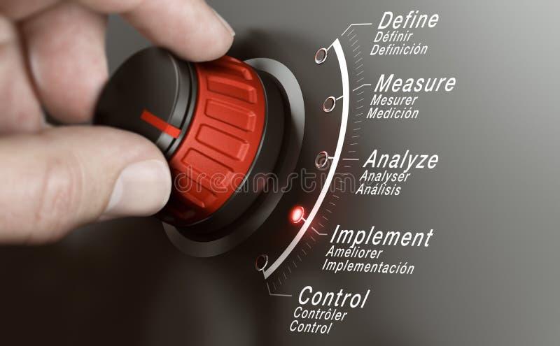 DMAIC ou DMAAC, Manaufacturing maigre et processus Imporvement illustration libre de droits