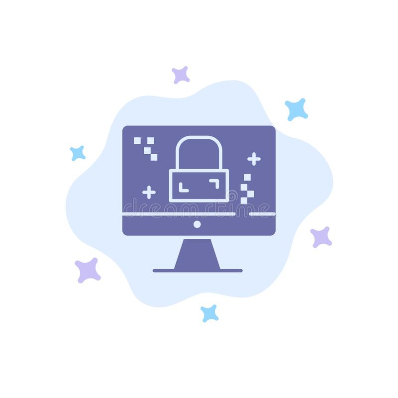 Dmca Protection, Monitor, Screen, Lock Blue Icon on Abstract Cloud Background royalty free illustration