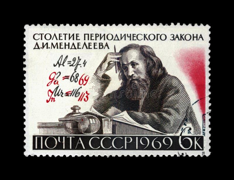 Dmitri Mendeleev, wetenschapper, de correcties van auteursFormula, Eeuw van de Periodieke Wet, circa 1969, royalty-vrije stock foto's