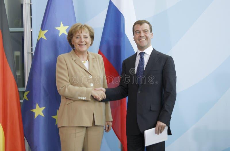 Dmitry Medvedev (Dmitri Medwedew), Kanzler Angela Merkel stockbild