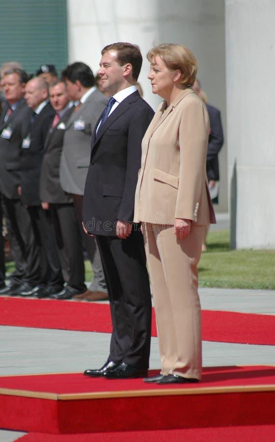 Dmitry Medvedev (Dmitri Medwedew), Kanzler Angela Merkel lizenzfreies stockfoto