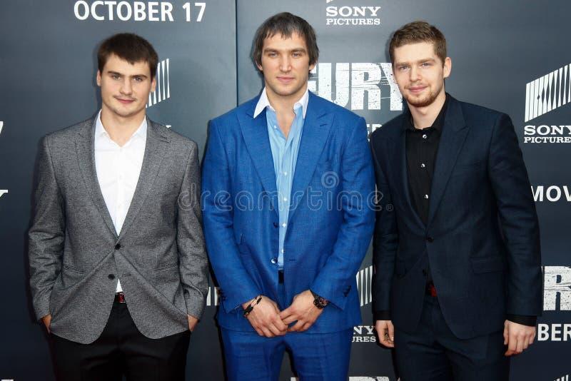 Dmitry Orlov, Alex Ovechkin, Evgeny Kuznetsov fotografía de archivo libre de regalías