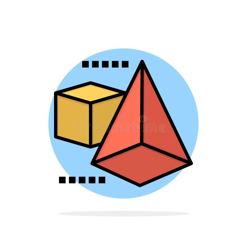 3dModel, 3d, коробка, значок цвета предпосылки круга конспекта треугольника плоский иллюстрация штока