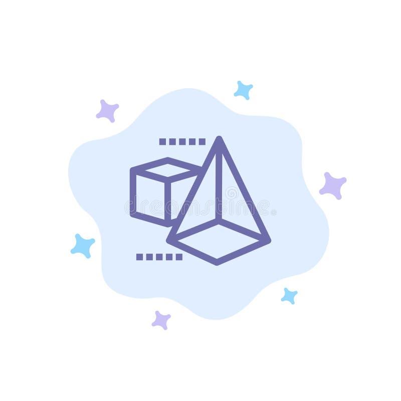 3dModel, 3d, boîte, icône bleue de triangle sur le fond abstrait de nuage illustration libre de droits
