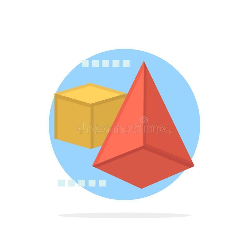3dModel, 3d, caja, icono plano del color de fondo del círculo del extracto del triángulo stock de ilustración