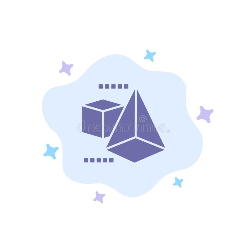 3dModel, 3d, pudełko, trójbok Błękitna ikona na abstrakt chmury tle ilustracji
