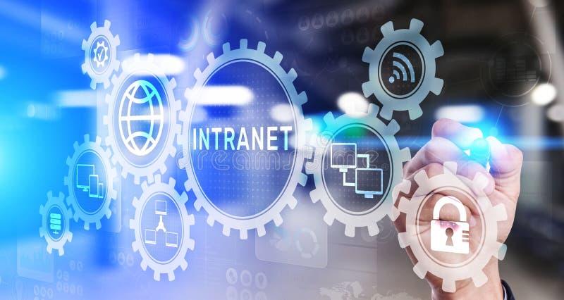 Dms do sistema de gestão do documento de uma comunicação incorporada do negócio do intranet Conceito da tecnologia do cybersecuri ilustração do vetor