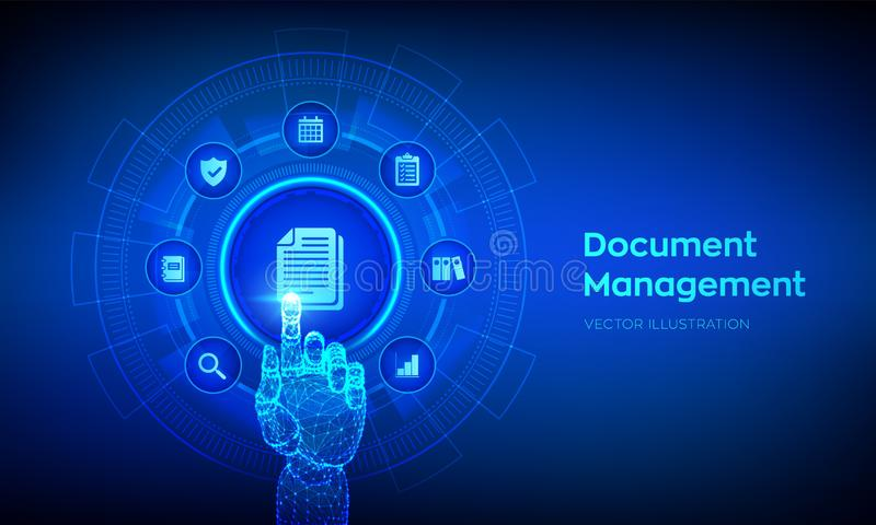 DMS. Document Management Data System. Corporate data management system. Privacy data protection. Business Internet Technology stock illustration
