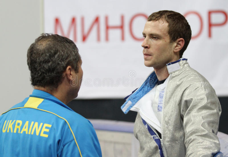 Dmytro Boyko. (UKR) compete at the 2010 RFF Moscow Saber World Fencing Tournament in Moscow, Russia stock photography