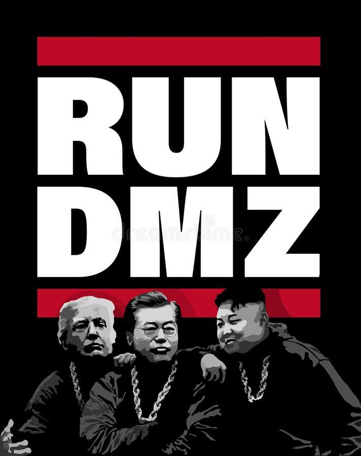 DMZ, COREIA, o 27 de abril de 2018 - ilustração para negociações de cimeira da paz da península da Coreia ilustração stock