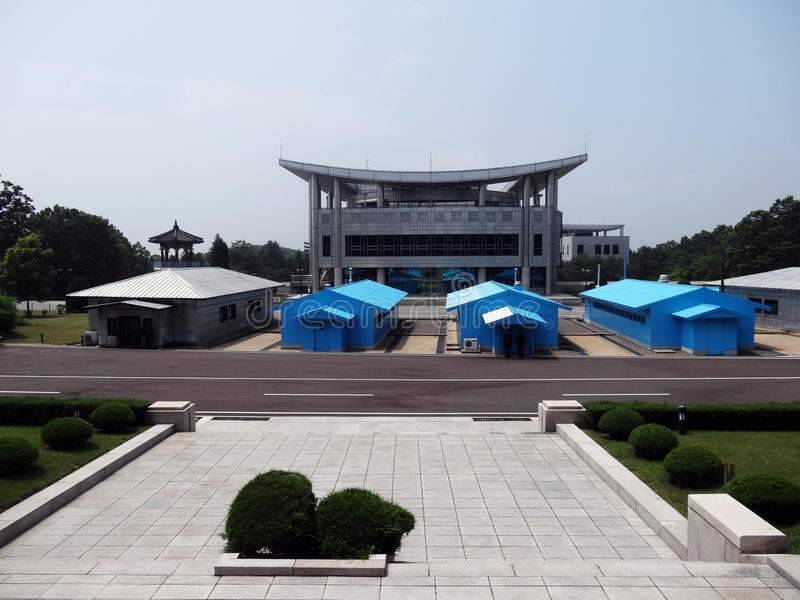 DMZ from DPRK stock image