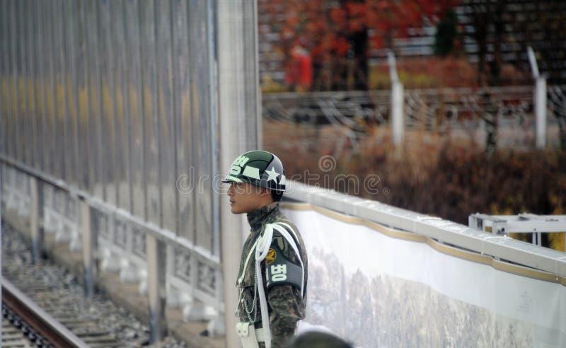 The DMZ in Korea. Imjingak, South Korea-November 14, 2015; DMZ Zone South Korea: soldier at the South Korean base of Dora Observatory. November 14, 2015 Imjingak stock photo