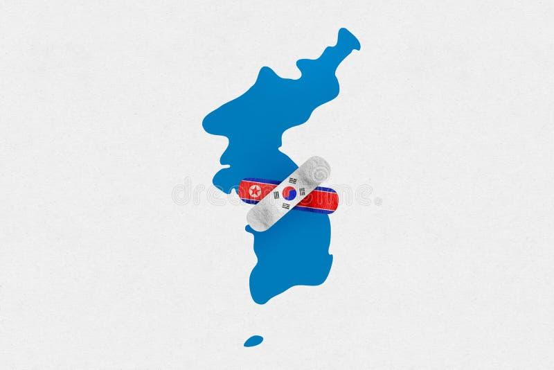 DMZ, KOREA, 23 2018 Kwiecień - ilustracja dla 2018 Inter Koreańskich pokojów szczytów royalty ilustracja