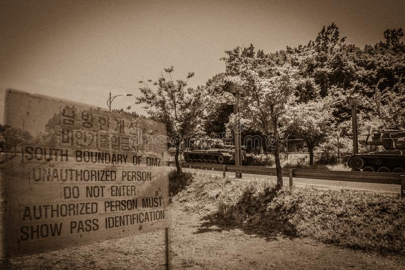 The DMZ stands for demilitarised zone and is the border zone wit royalty free stock image