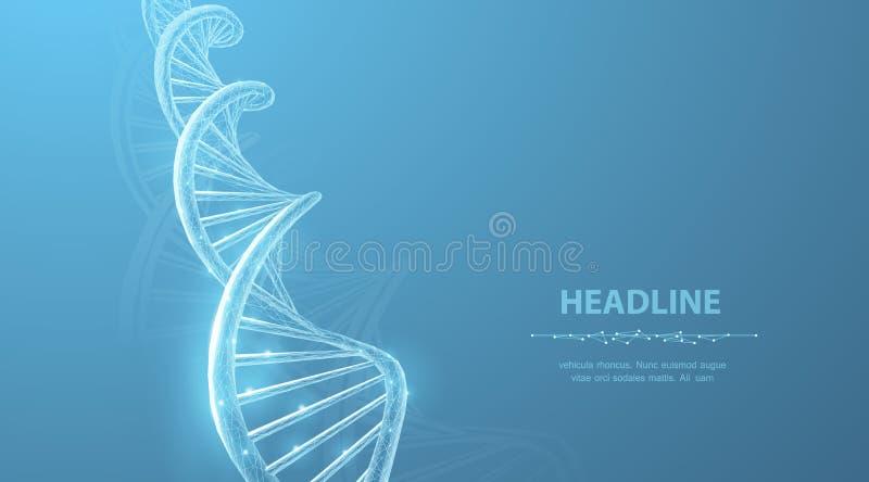 DNA Αφηρημένη τρισδιάστατη polygonal σπείρα ελίκων μορίων DNA wireframe στο μπλε ελεύθερη απεικόνιση δικαιώματος
