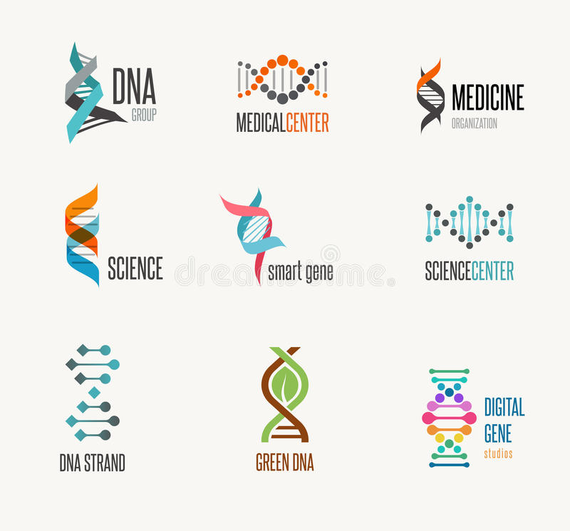 DNA, γενετικές στοιχεία και συλλογή εικονιδίων διανυσματική απεικόνιση