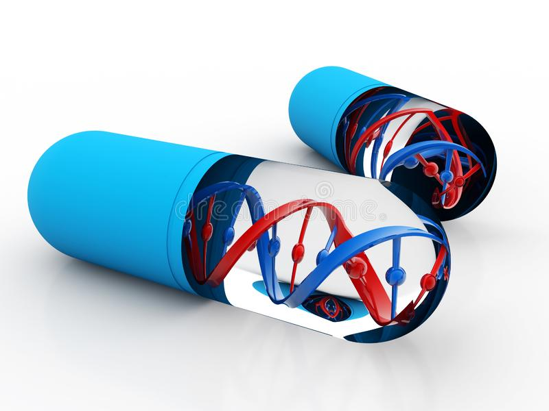 DNA με τη γενετική ιατρική, ιατρική έννοια τεχνολογίας τρισδιάστατος δώστε ελεύθερη απεικόνιση δικαιώματος