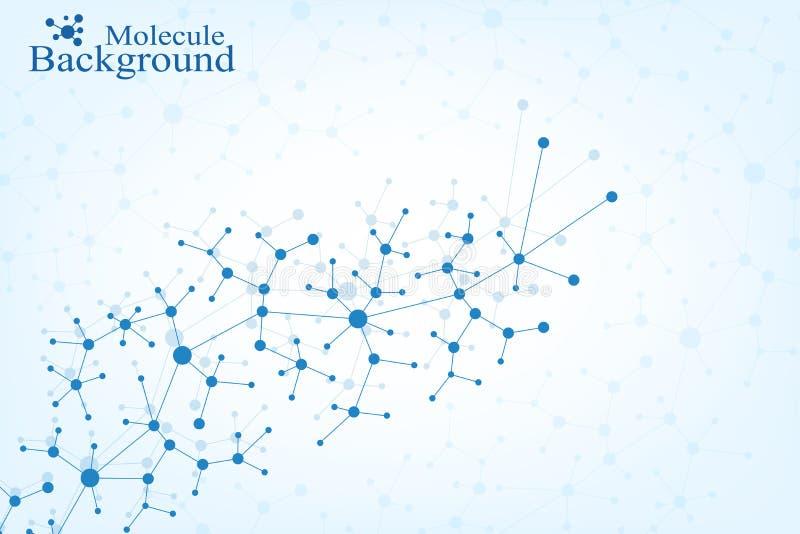 DNA δομών μορίων και υπόβαθρο επικοινωνίας Συνδεδεμένες γραμμές με τα σημεία Έννοια της επιστήμης, σύνδεση διανυσματική απεικόνιση