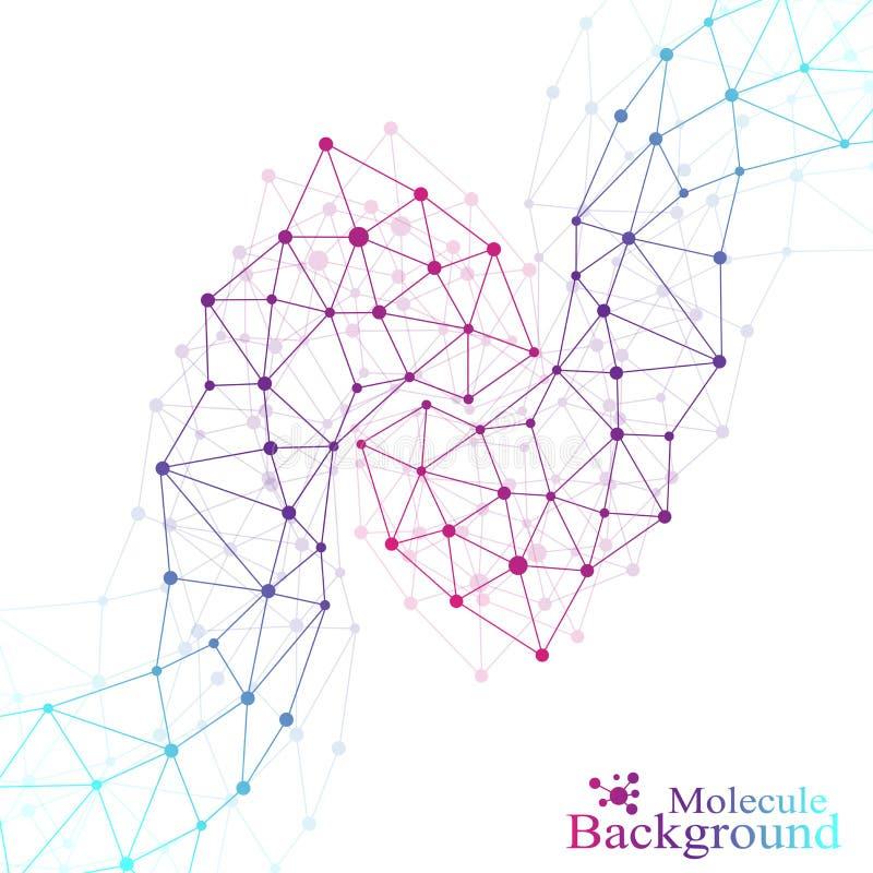 DNA δομών μορίων και υπόβαθρο επικοινωνίας Συνδεδεμένες γραμμές με τα σημεία απεικόνιση αποθεμάτων