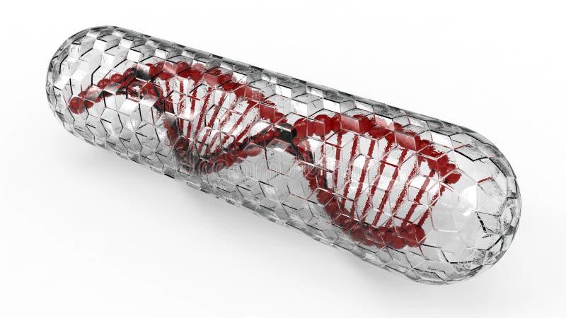 DNA στην κάψα γυαλιού διανυσματική απεικόνιση