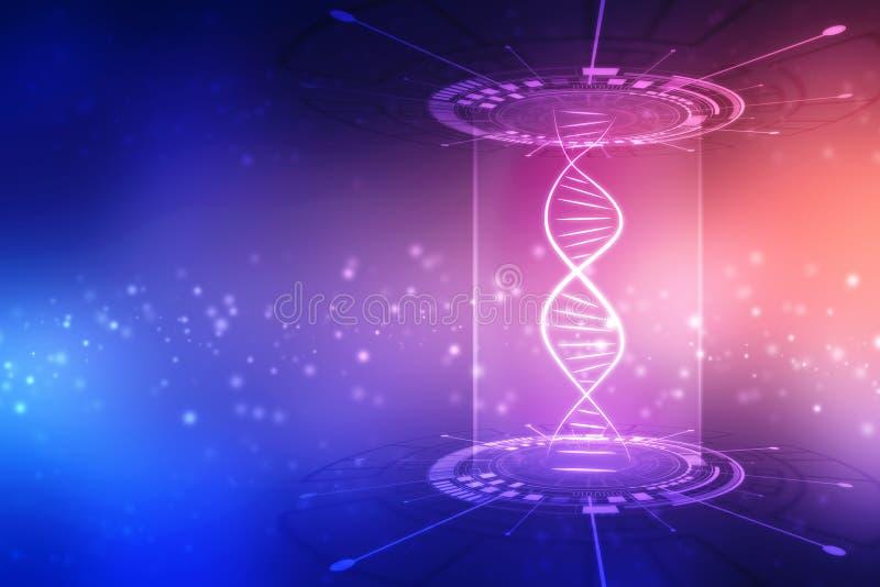 DNA abstracta del concepto de la ciencia de la tecnolog?a futurista en fondo azul de alta tecnolog?a stock de ilustración