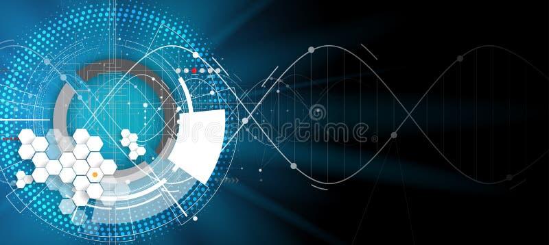 DNA Abstrakcjonistyczna ikona i element kolekcja futurystyczna technologia ilustracji