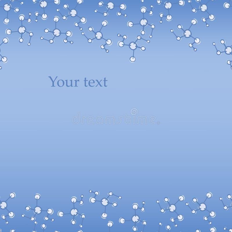 DNA bezszwowy deseniowy tło Chemia szablon Molekuła wektoru pocztówka błękitna karta Physics, chemia lub medycyna, ilustracji