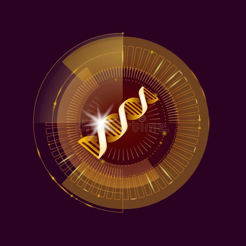 DNA binary code gold future computer technology concept. Cosmetic extract serum molecular symbol sign medicine golden. Coding gene banner template vector vector illustration