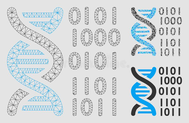 DNA Binary Code Vector Mesh Carcass Model and Triangle Mosaic Icon royalty free illustration