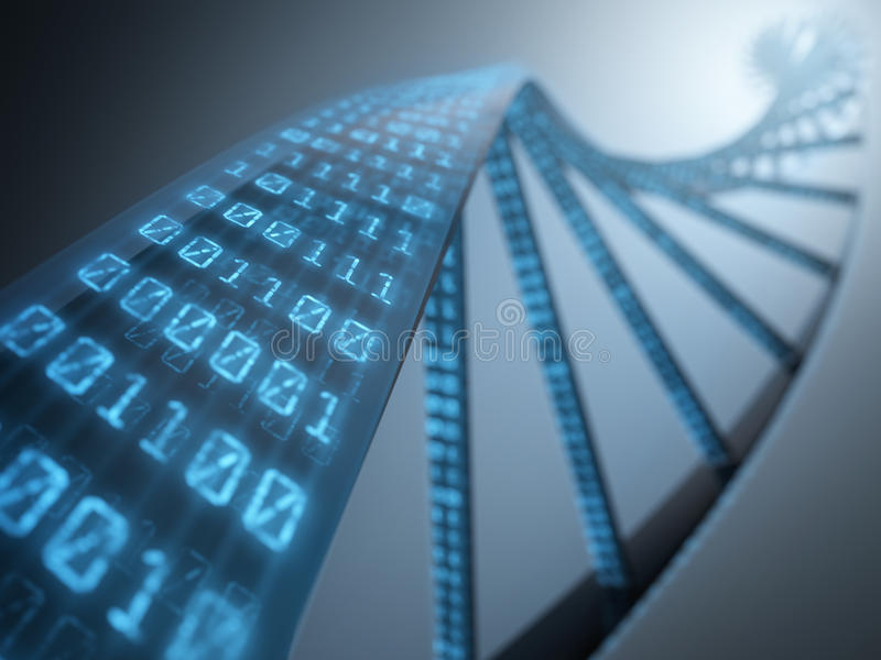 DNA Binary. Dna with binary codes. Concept of science technology