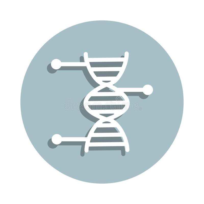 Dna, biology badge icon. Simple glyph, flat vector of genetics and bioenginnering icons for ui and ux, website or mobile. Application on white background vector illustration