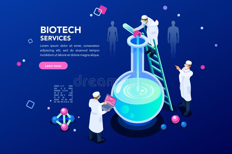 Dna and Blue Science Background. Health and biochemistry laboratory of nanotechnology. Molecule helix of dna, genome or gene evolution. Vector blue science royalty free illustration