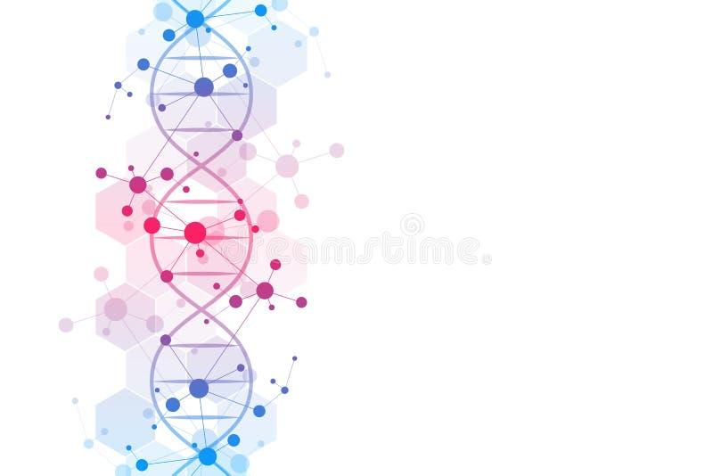 DNA-bundel en moleculaire structuur Genetische biologie of laboratoriumonderzoek Achtergrondtextuur voor medisch of vector illustratie
