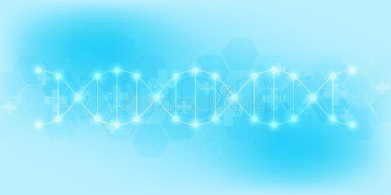 DNA-bundel en moleculaire structuur Genetische biologie of laboratoriumonderzoek Achtergrondtextuur voor medisch of stock illustratie