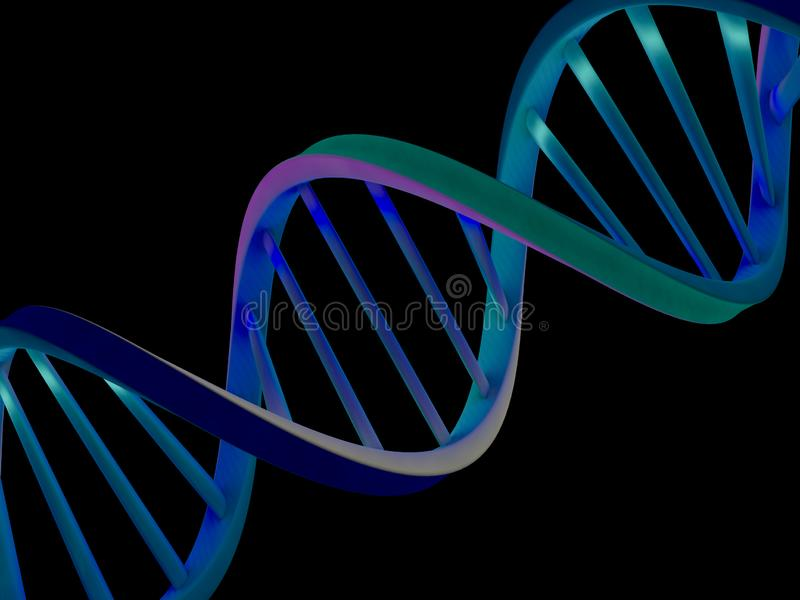 DNA chain. Abstract scientific background. 3D rendering vector illustration