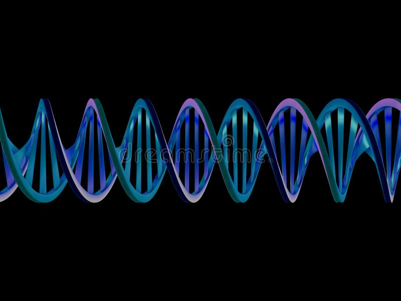 DNA chain. Abstract scientific background. 3D rendering royalty free illustration