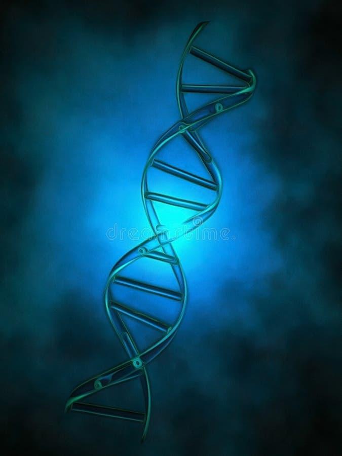 DNA chain. In blue light stock illustration