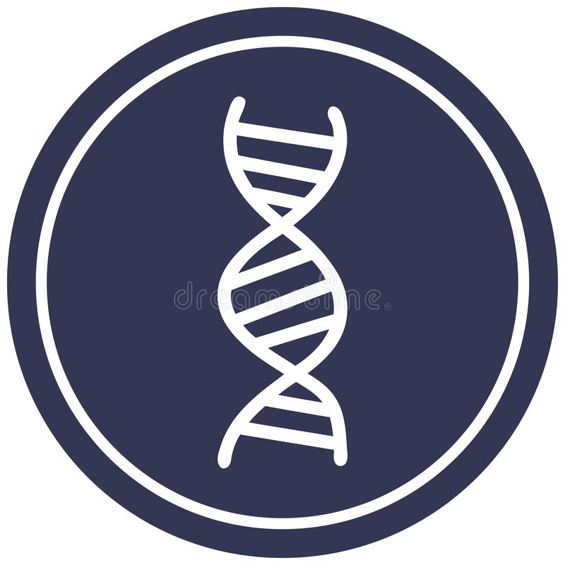 DNA chain circular icon. A creative illustrated DNA chain circular icon image stock illustration