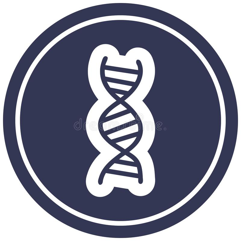 DNA chain circular icon. A creative illustrated DNA chain circular icon image royalty free illustration